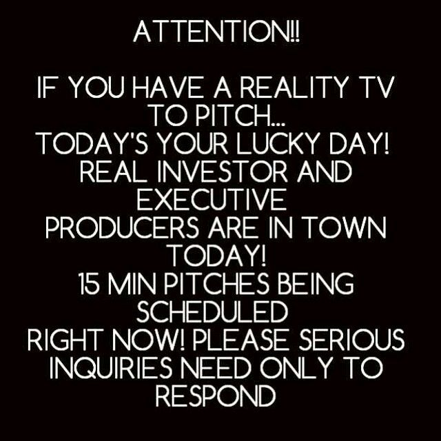 ATTENTION!!! IF YOU HAVE A REALITY TV SHOW SCRIPT WRITTEN