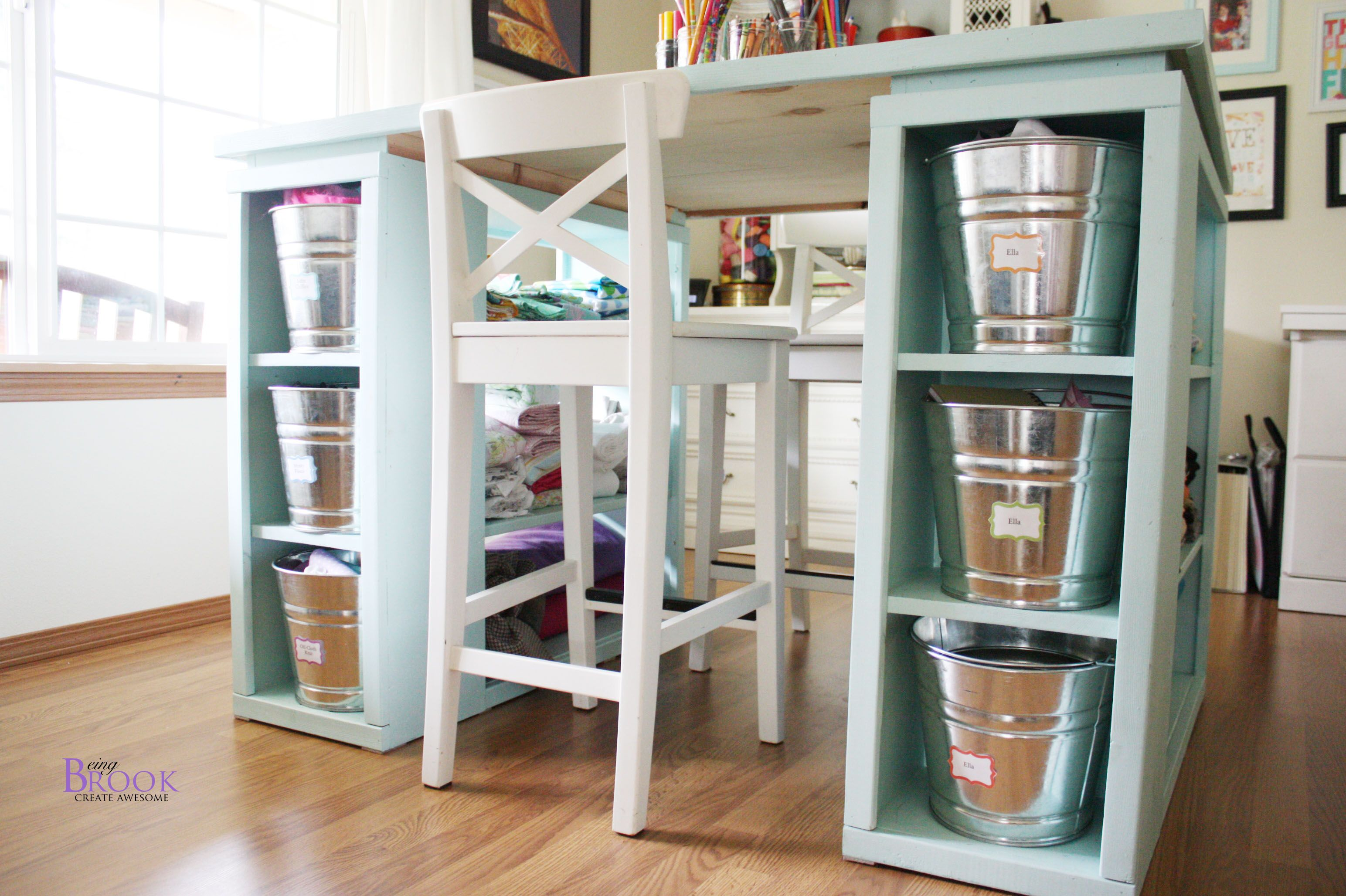 Modern Craft Table Aqua Craft Tables With Storage Craft Table Diy Diy Crafts Desk