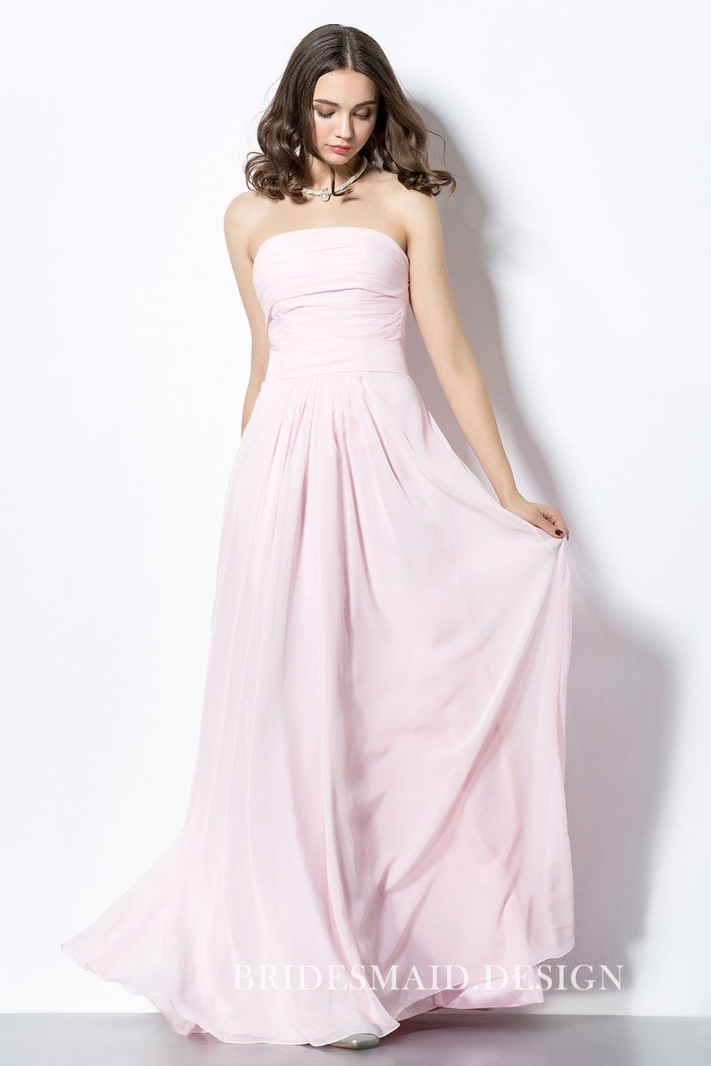 Pretty simple light pink chiffon strapless aline long bridesmaid