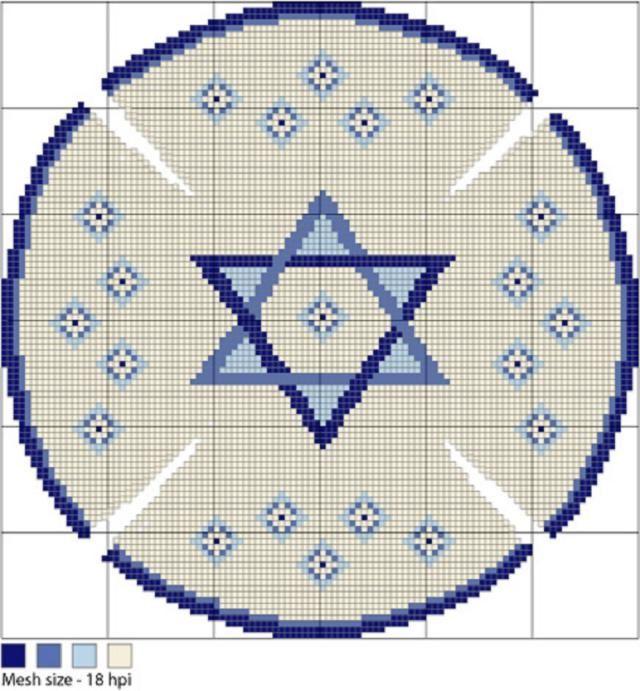 Needlepoint a Star of David Kippah with Free Pattern & Instructions ...
