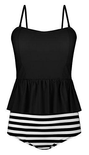d3b2072baa AnniBlue Women¡¯s Falbala High Waisted Swimsuit Ruffles Top Two Piece  Tankini