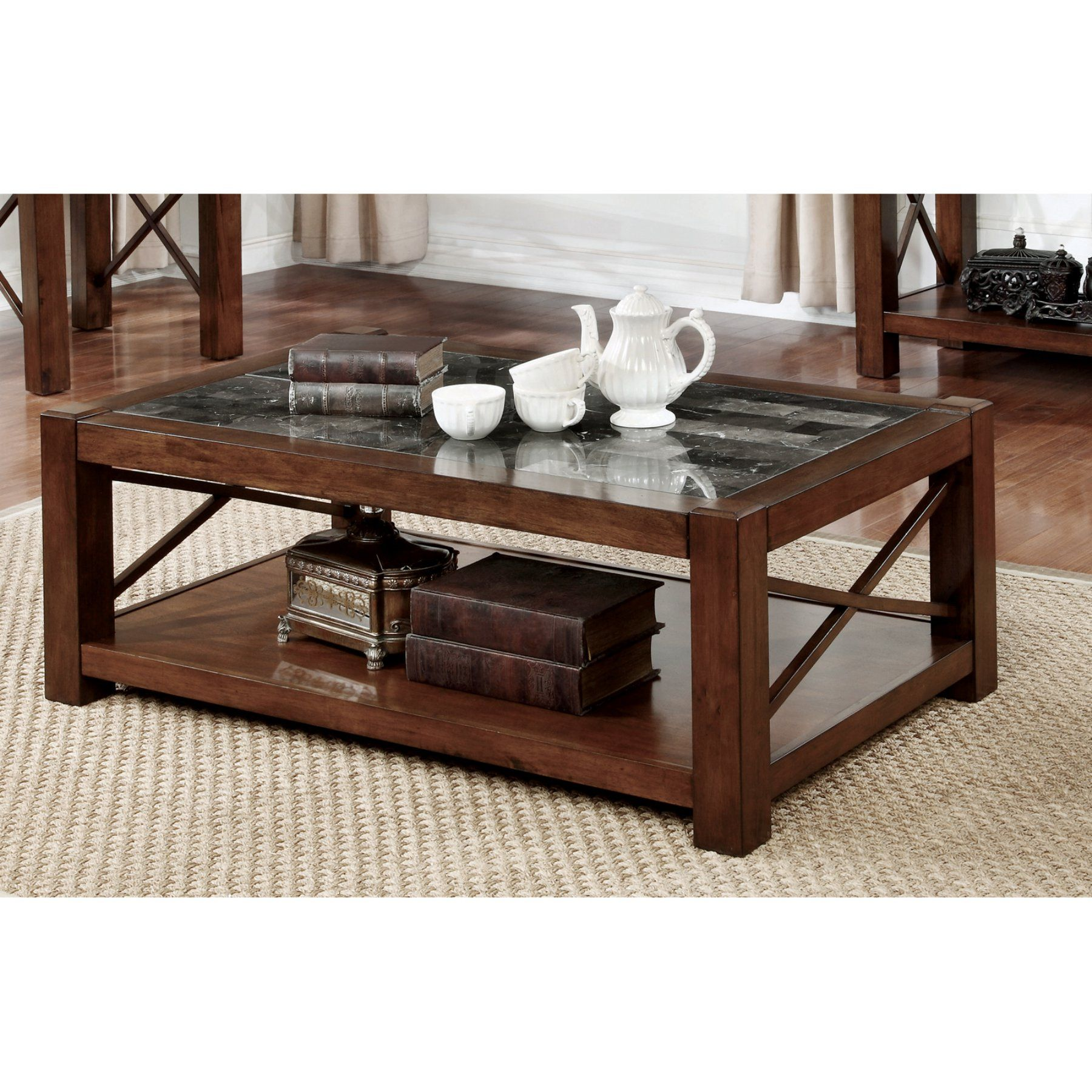 Furniture Of America Dolmin Transitional Style Genuine Marble Top Coffee Table Idf 4670c Coffee Table Coffee Table With Storage Marble Top Coffee Table [ 1800 x 1800 Pixel ]