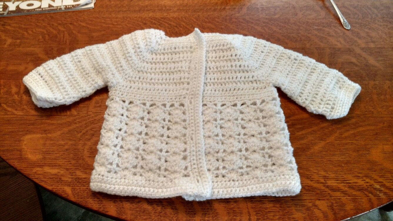 Crocheted in one piece from bottom up baby sweater, just needs ...