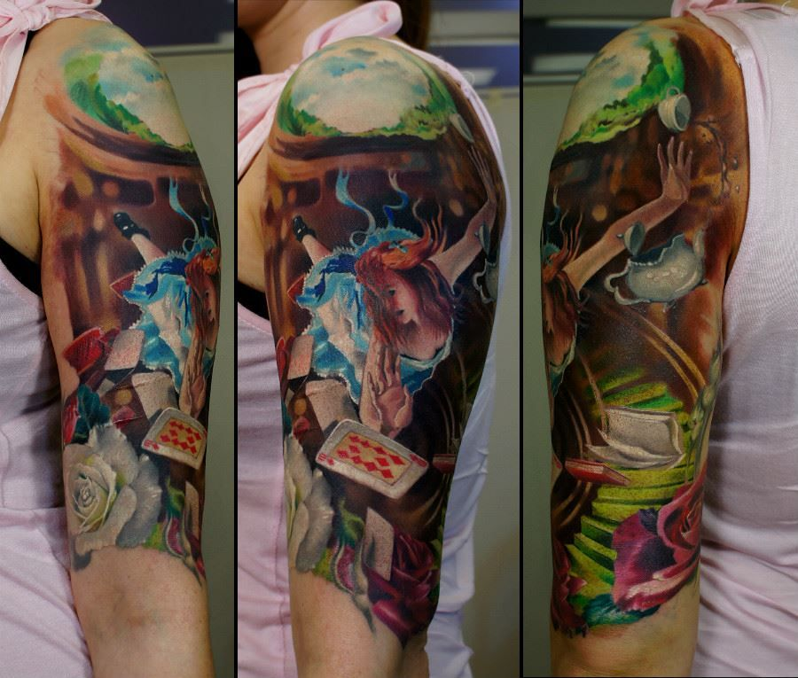 Very Cool Falling Alice Aliceinwonderland Color Portrait Tattoo In Progress By Andrey Barkov Grimmy3d With Radiant C Wonderland Tattoo Tattoos Detailed Tattoo