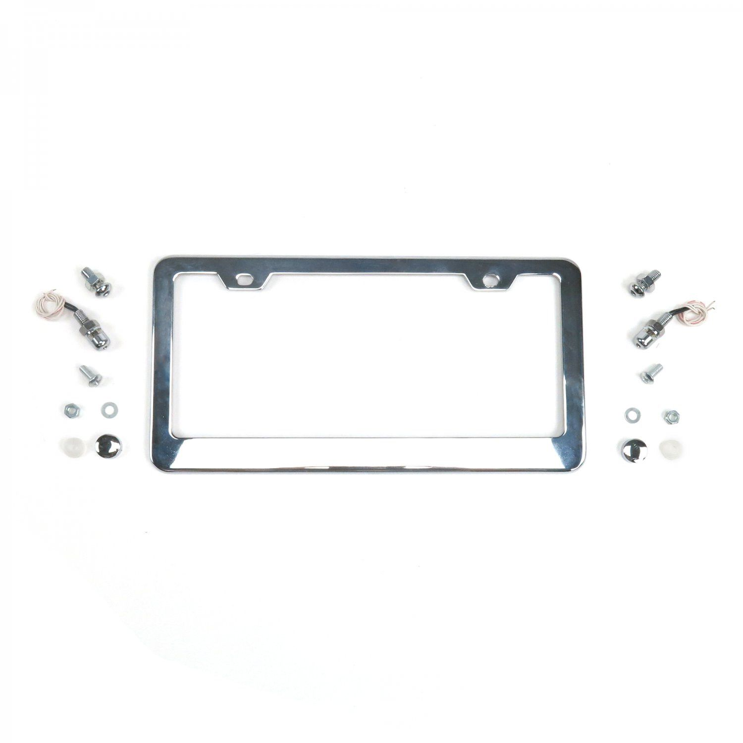 Illuminated Chrome License Plate Frame w Light Bolts and Caps - Autoloc's Illuminated Chrome License Plate Frame w/ Light Bolts and Caps.Don't let your car or truck leave the garage with out our chrome metal LED lighted license plate frames. High quality chrome license plate frames give your car or truck that finished detail. It's really hard to find a good quality chrome license plate frame. These are among the best available.Bolts and caps included. Check out our unlighted chrome license…