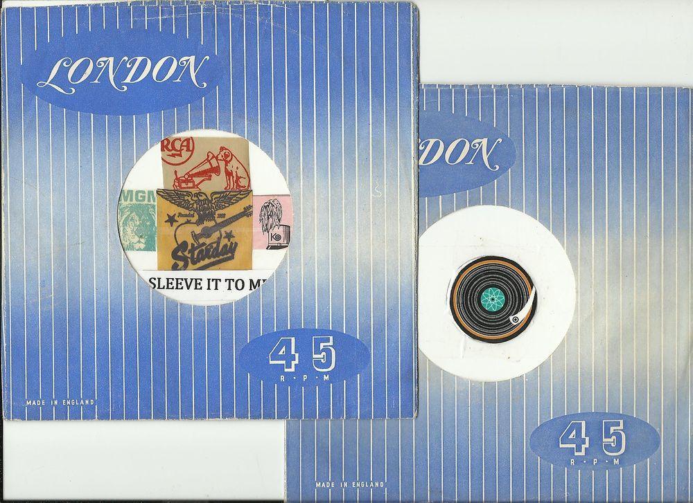 2 UK LONDON BLUE VINTAGE ORIGINAL COMPANY FACTORY 45 RPM RECORD SLEEVE SLEEVES