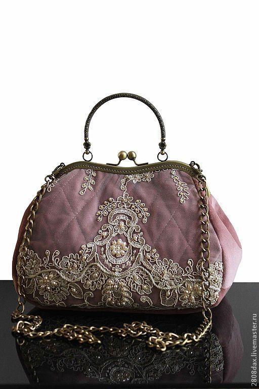 83b46b862cdd Купить Сумочка коллекционная, бархат, кружево, Винтаж - однотонный, сумка  женская, сумка с декором, розовый
