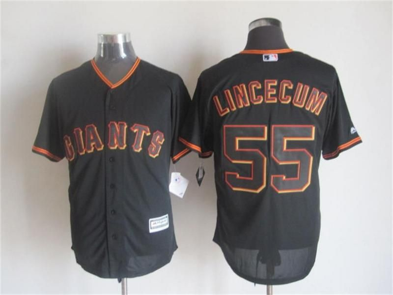 Men's San Francisco Giants #55 Tim Lincecum Alternate Orange 2015 MLB Cool Base Jersey