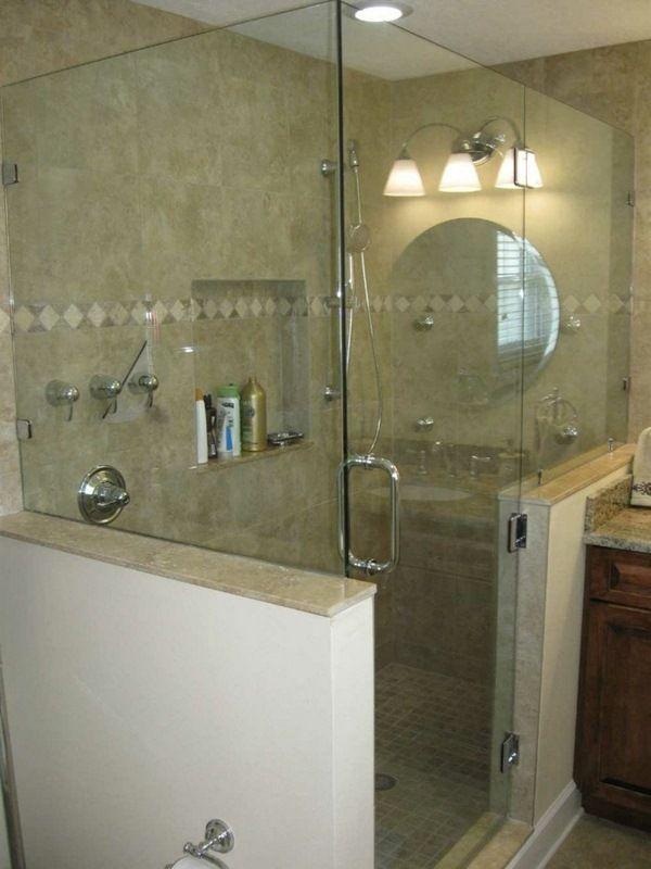 Interestingglasswallshowerinthesmallbeautifulbathroom Extraordinary Small Beautiful Bathrooms Design Ideas