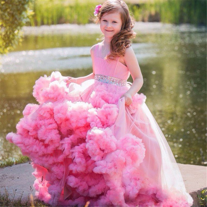 Special Occasion Flower Girls Kids Ruffled Dress for Wedding