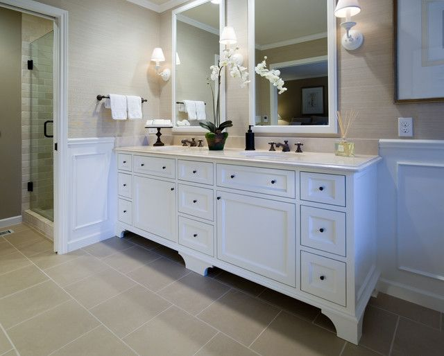 Awesome Double Sink Bathroom Decorating Ideas With White Bathroom