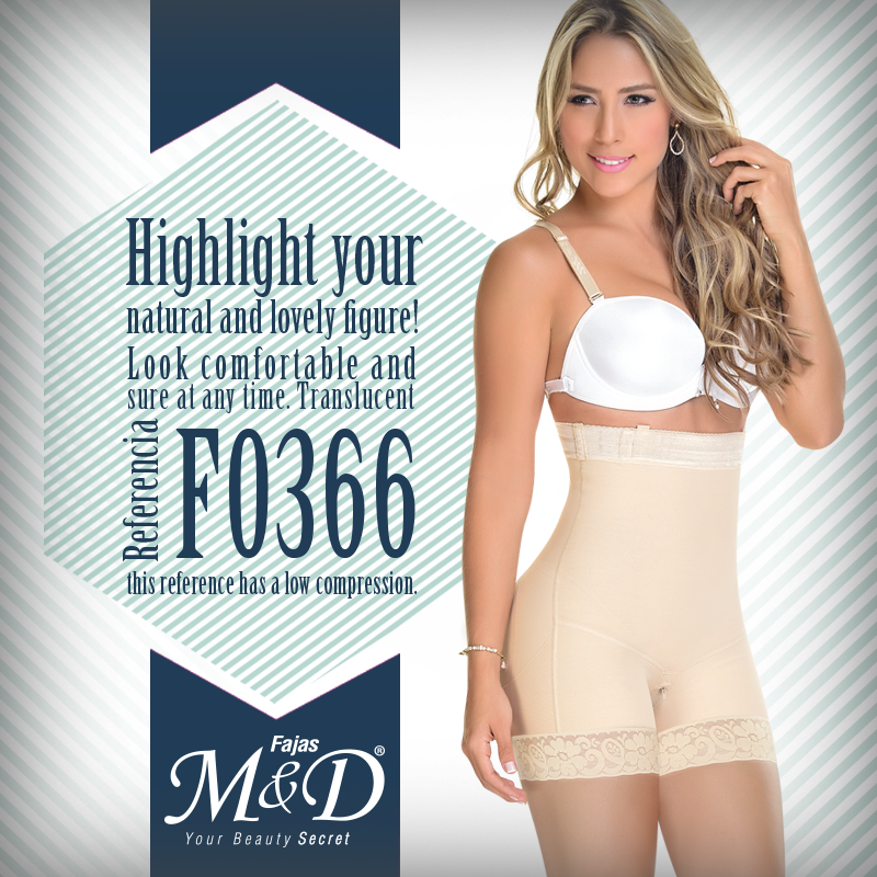 Highlight your natural and lovely figure with our translucent reference F0366. It is a product without fastening system,leg girdle in order to give you all the comfort ,and it has bottom zipper.