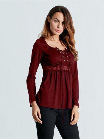 6a6b63dbbe1 Women Long Sleeve Pure Color Asymmetrica Loose Shirts Cheap - NewChic  Mobile.