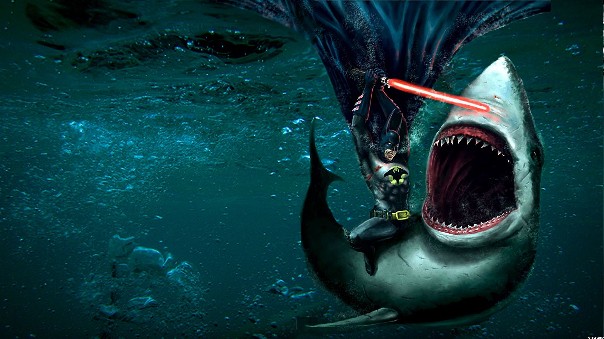 Batman Fights a Shark with a Lightsaber