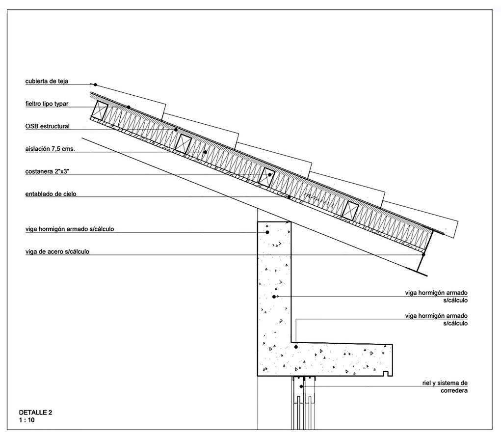 Dise o de casa de campo de un piso con estructura de for Techos planos modernos