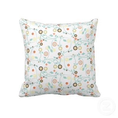 Funky Retro Spring Flowers Red Green Blue Yellow Throw Pillows by sitnica