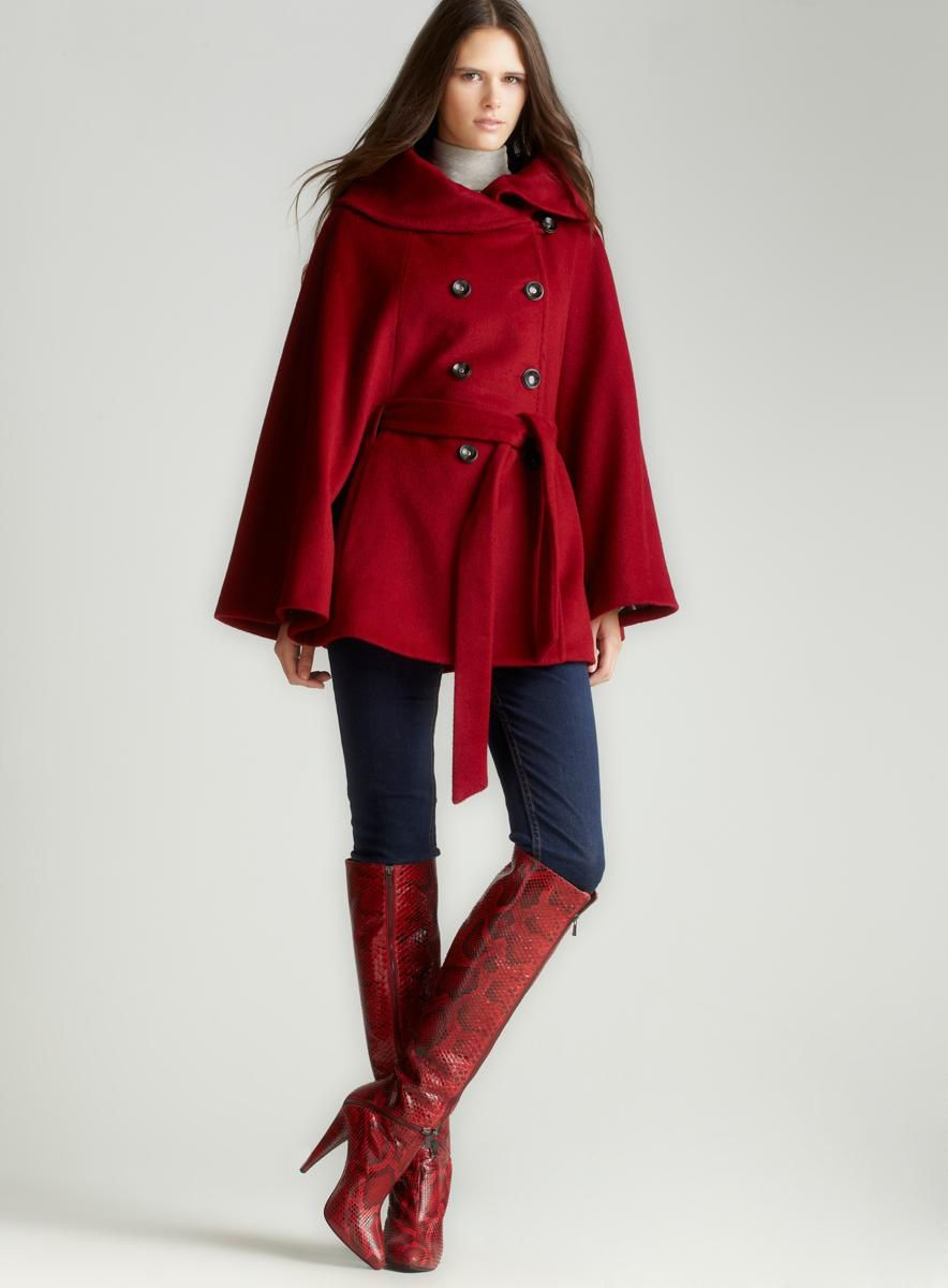 Calvin Klein Red Belted Cape