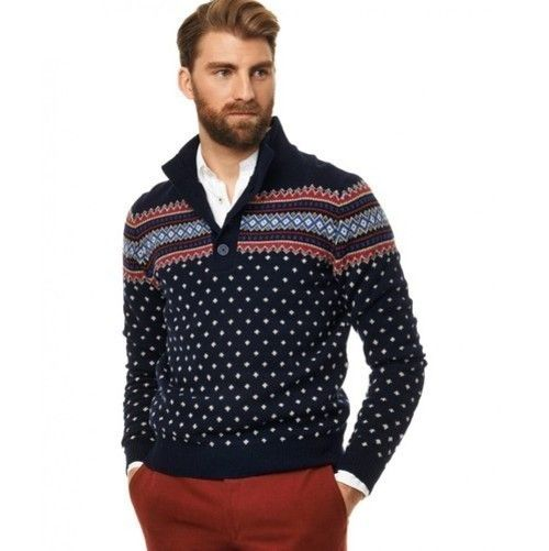 Men's Navy Fair Isle Cowl-neck Sweater, White Long Sleeve Shirt ...