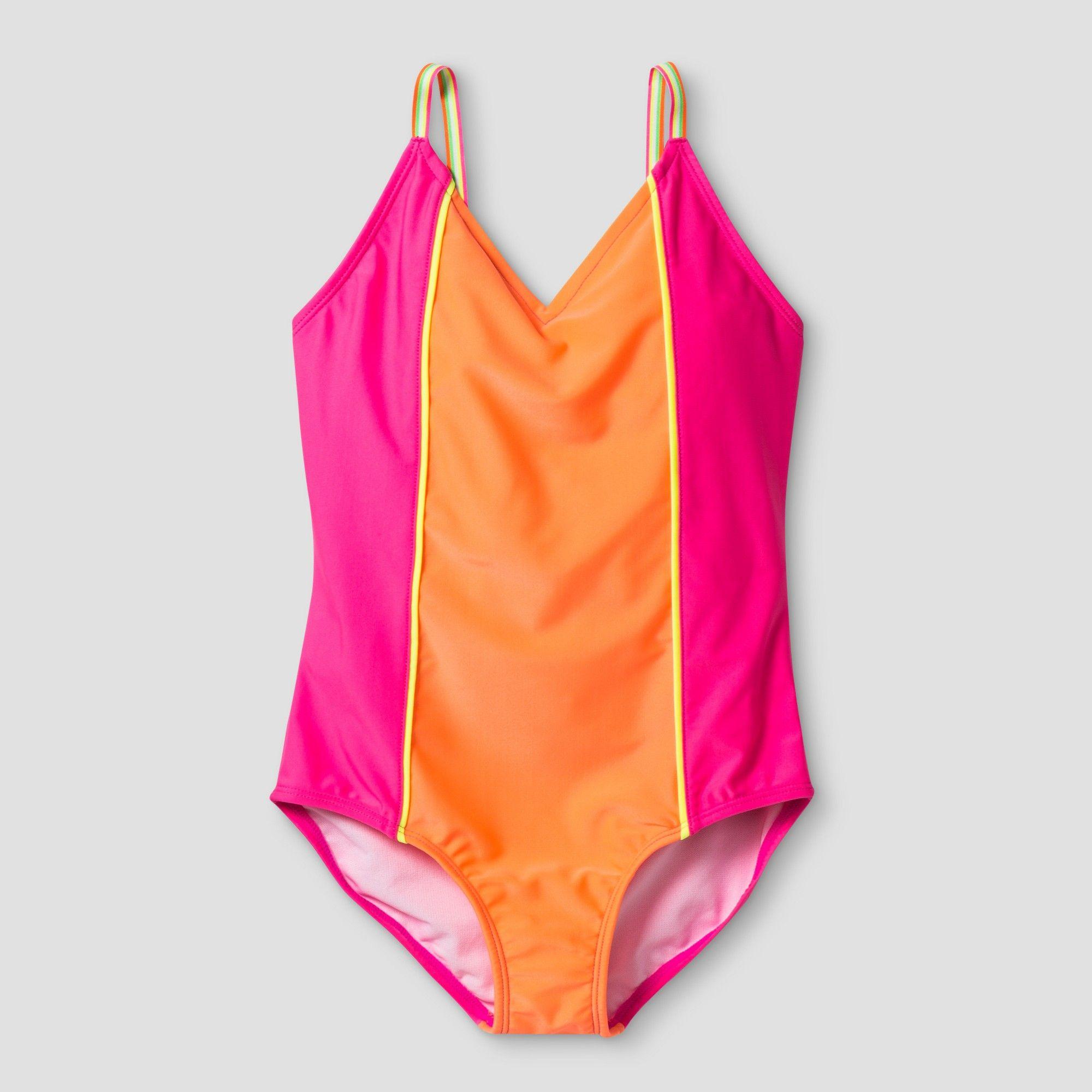 e61bb38249 Girls  One Piece Swim Suit Colorblock - Cat   Jack Pink XL ...
