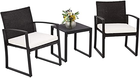 Amazon Com Suncrown Outdoor Furniture 3 Piece Patio Bistro Set Black Wicker Chairs And Glass T In 2021 Modern Outdoor Furniture Patio Furniture Sets Outdoor Furniture