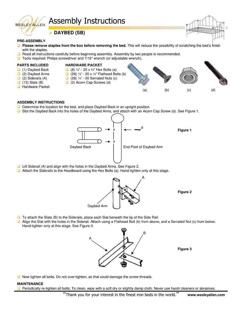 How To Wesley Allen Bed Assembly Instructions Wesley Allen Bed