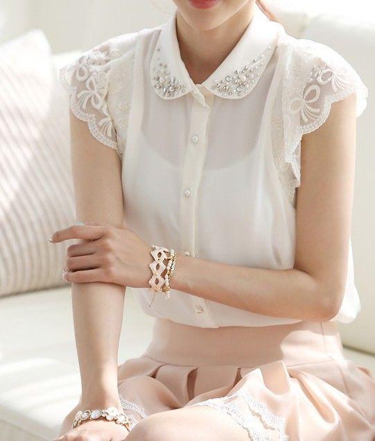 Summer Women S Plus Size Lace Shirt Korean Style Sweet Beaded Peter Pan Collar Lace Short Sleeve Patchwork Chiffon Tops 20 8 Blusas Bonitas Moda Estilo Blusas