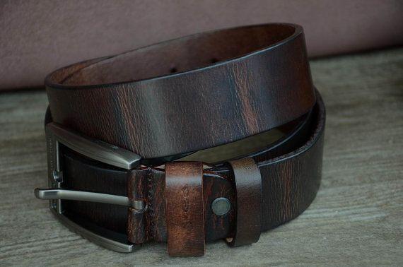 Men's Belt / Dark Brown / Cowhide Leather Belt / Distressed Belt / Tree Bark Grain Effect Leather Belt / Durable Leather Belt / Gift For Man / by SherryJewelry, $27.00