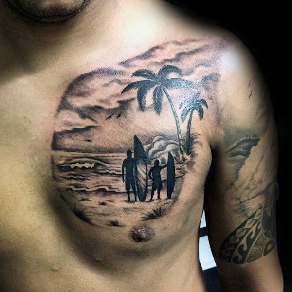 Dad Son Ready To Surf Tattoo Male Chest                                                                                                                                                                                 More