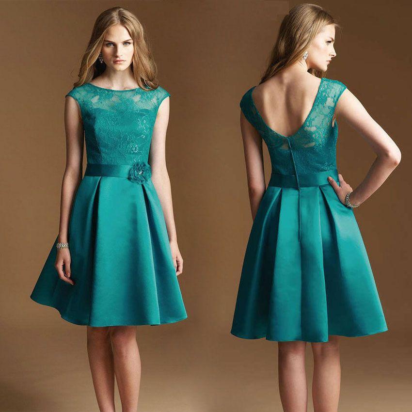 9a8b8273e Cheap Elegante corto De color turquesa vestidos cóctel De encaje Vestido De  partido Formal cucharada Stain