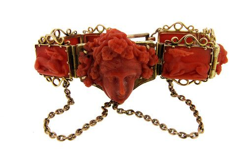 Victorian  Hand Carved Coral Bracelet in 18ct Gold