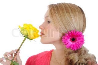 beautiful girl with a yellow rose Isolated on white background