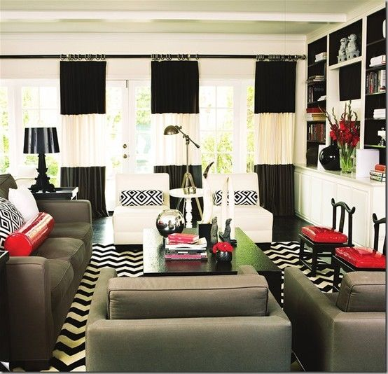 black white with pop of red WowI love your room Pinterest Room