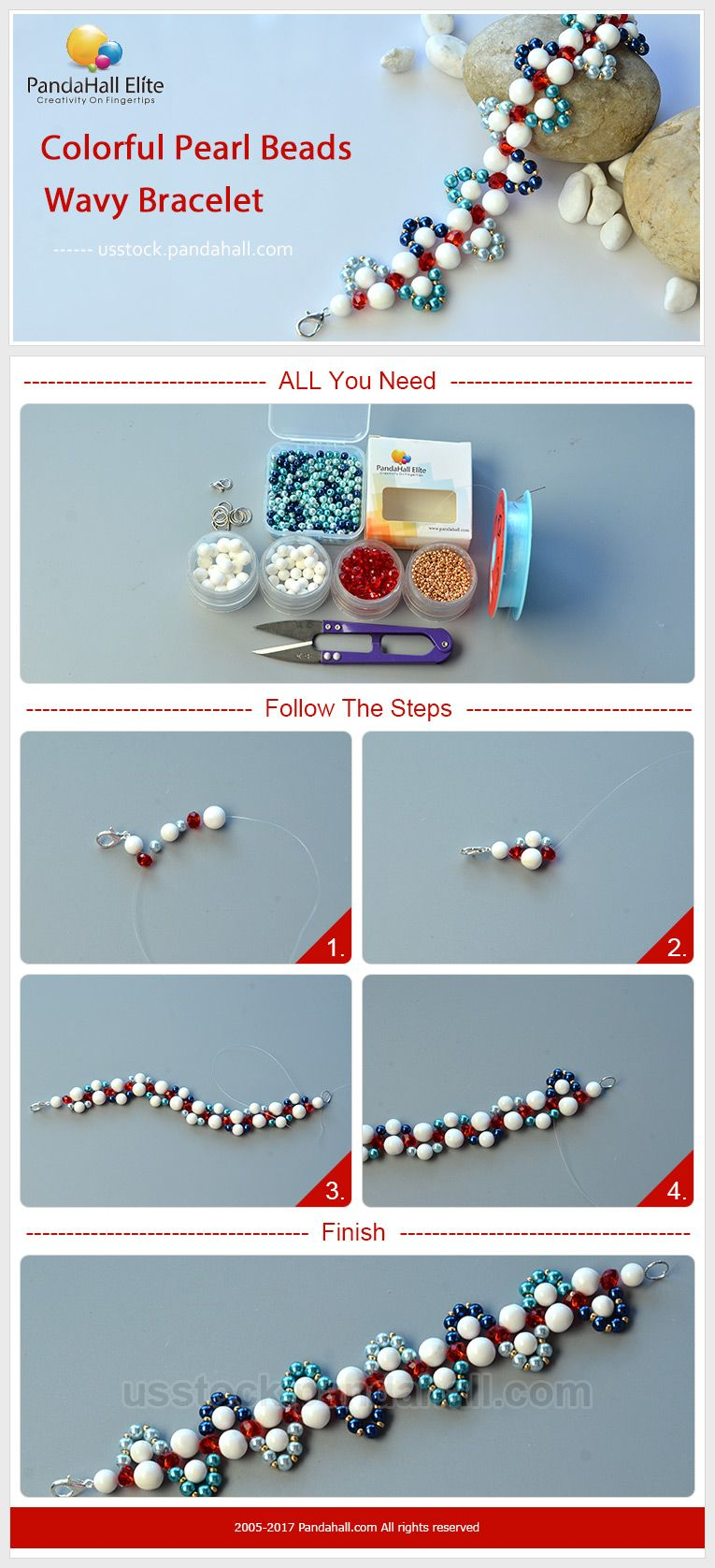 pandahall elite diy colorful pearl beads wavy bracelet   gratis