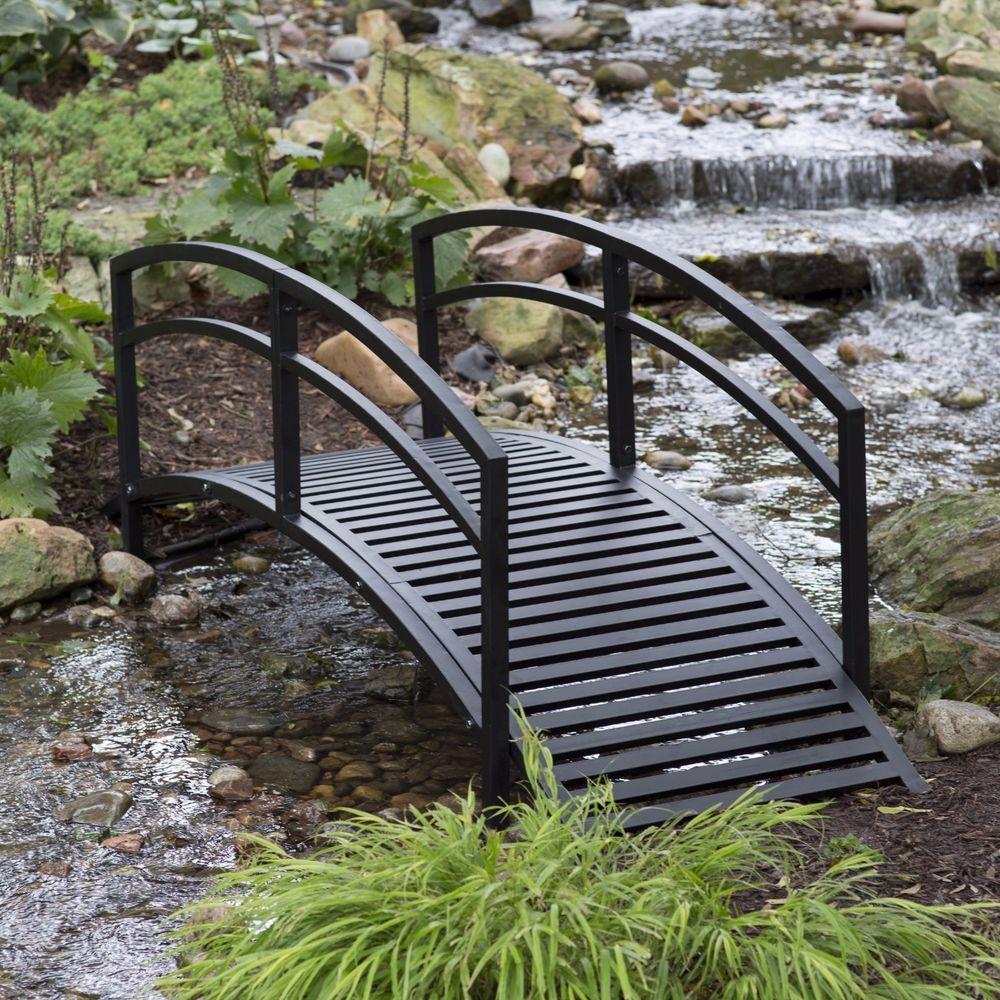 Small Bridges: Outdoor Garden Bridge Metal 8ft Backyard Decor Walkway