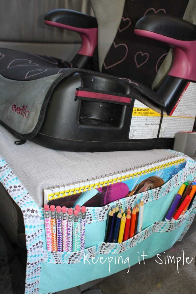DIY Car Seat Organizer for Kids' Snacks and Coloring Supplies • Keeping it Simple
