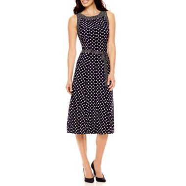 Perceptions Sleeveless Dot Print Fit And Flare Dress Found