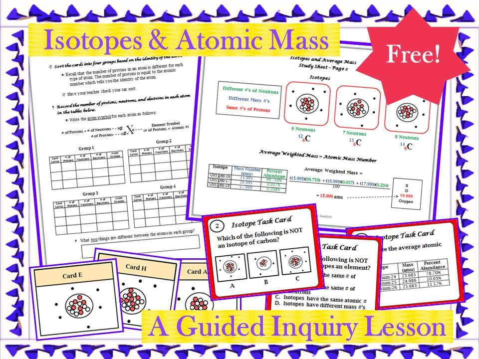 FREE - Complete Lesson! This guided inquiry lesson enables students - copy periodic table for atomic mass