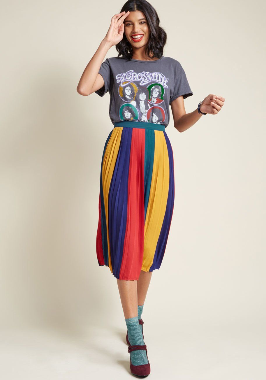 Pleated Chiffon Midi Skirt in Colorblock - This colorblock midi skirt from  our ModCloth namesake label will be quite  pleats  to make your wardrobe s  ... 6b4ac8fa5