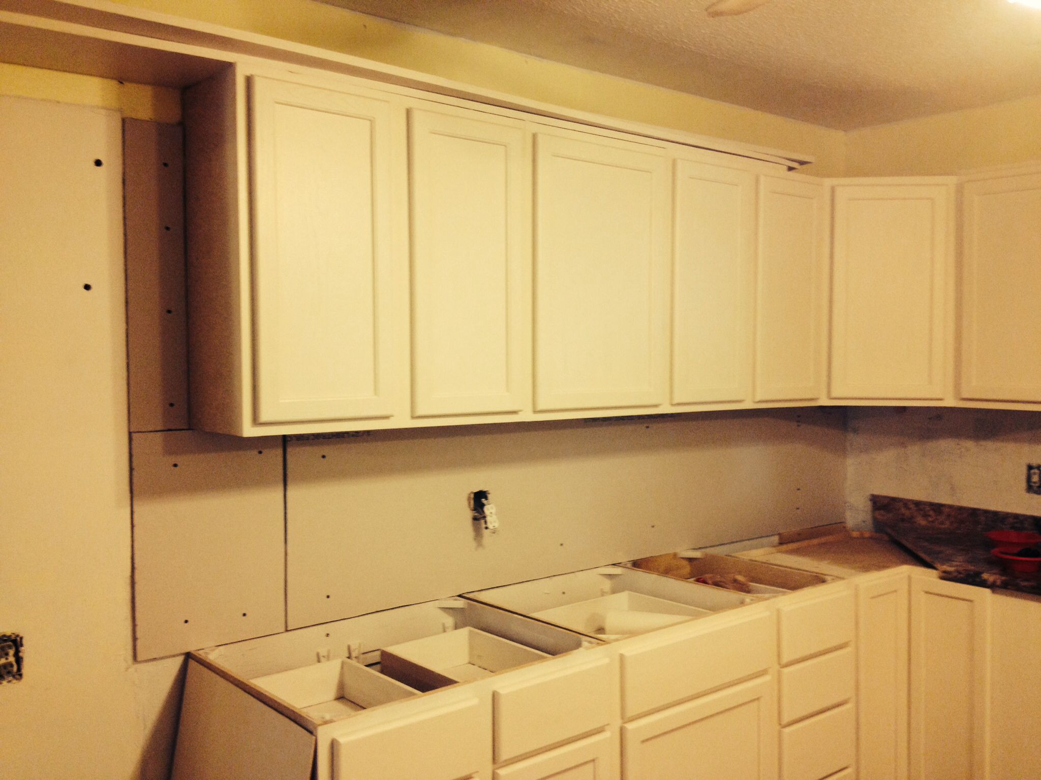 Leveling The Wall With 1 2 Sheetrock Kitchen Cabinets Kitchen Home Decor