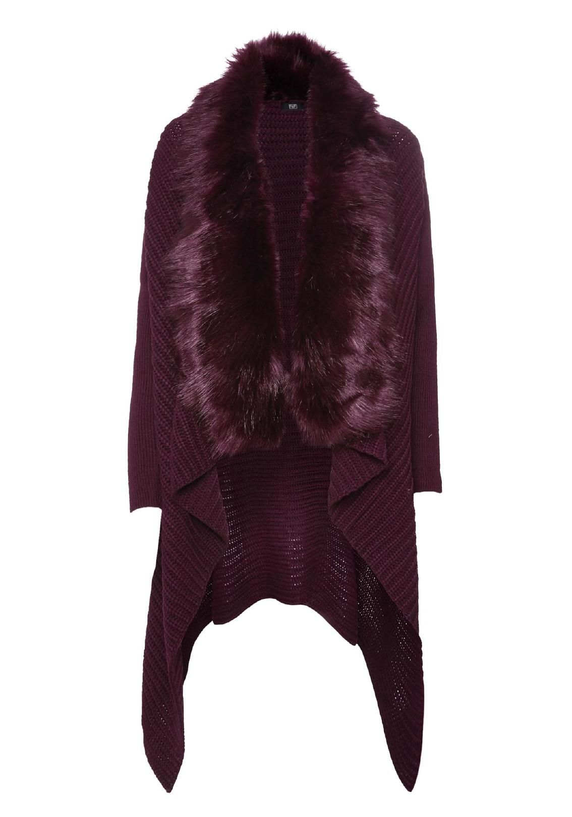 Clothing at Tesco | F&F Faux Fur Trim Waterfall Cardigan ...