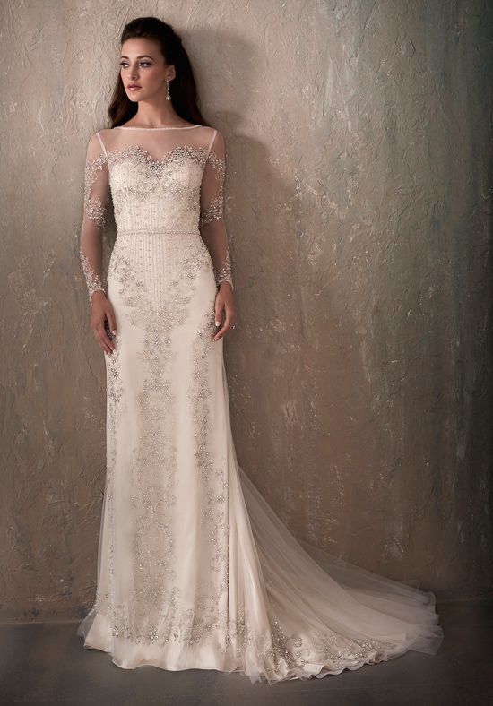 All-over beading on sheath gown | Adrianna Papell Platinum 31032 ...