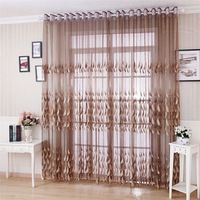 Home Decoration Embossment feather embroidered tulle curtain 3 * 2.6m customize finished curtains for living room free shipping