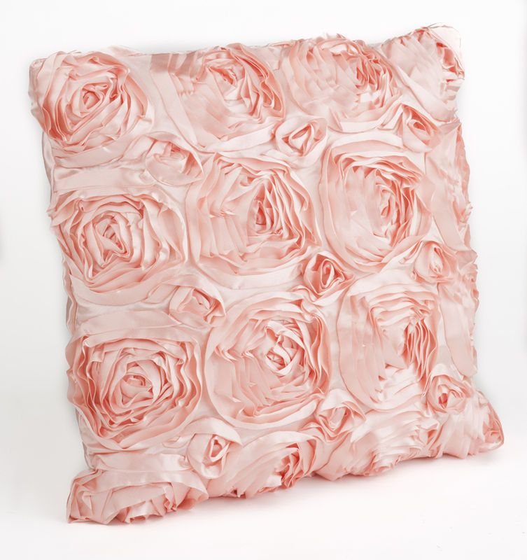 SATIN ROSES RAISED STYLE 3D EFFECT CUSHION COVER BEDDING BEDROOM MODERN PINK NEW   eBay