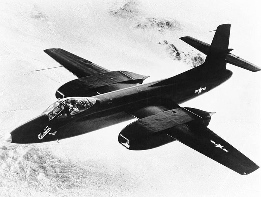 1st flight of Curtiss XF-87 Blackhawk May 5,1948 & Curtiss decided to start production of 2nd prototype,it carried Westinghouse radar.June 1948,USAF decided not to wait for flight tests of 2nd prototype,& placed order for 88 aircraft under designation F-87A.Received baptismal name Blackhawk However order canceled in October of that year after testing by Air Force of prototype Northrop F-89 Scorpion & program was finally shelved.