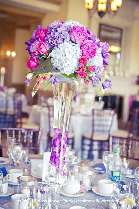 purple and hot pink wedding flowers i like this arrangement just rh pinterest com