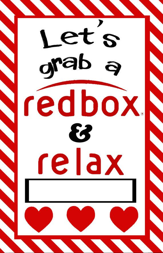 Redbox gift cards for popcorn and a movie date night with space for ...