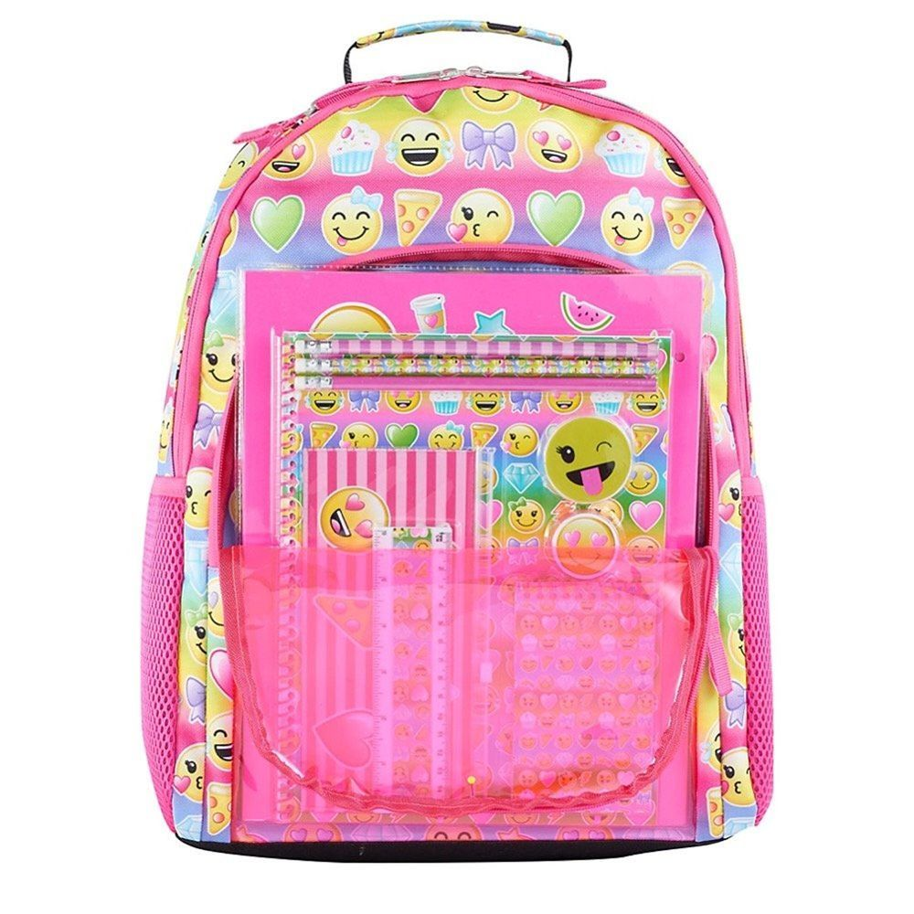 a98fb1d6487a Kids Emoji Stationary Backpack Smile Faces 12 Piece Set Pink Multi Girls  NEW 29.99 free us