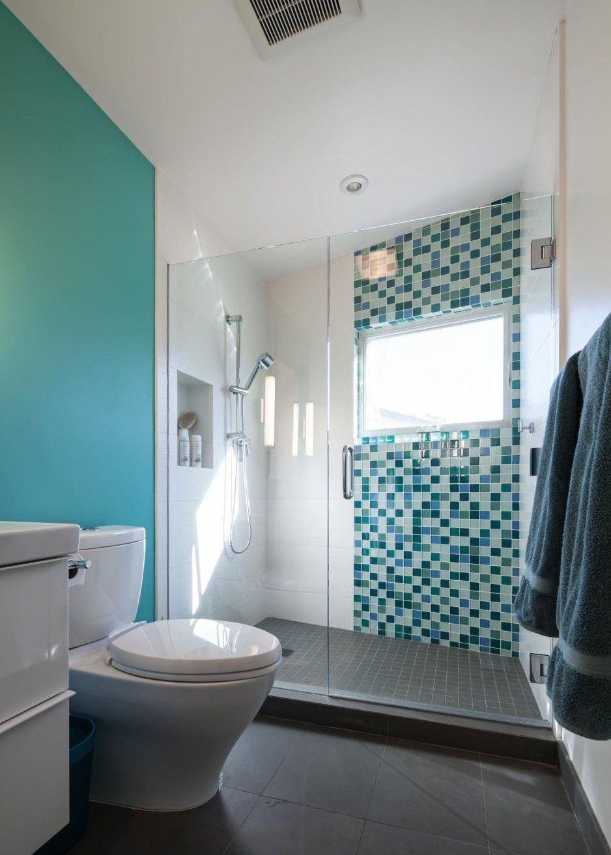 Blue Bathroom Decoration Using Mosaic Glass Turquoise Bathroom Wall Décor  Including Light Blue Bathroom Wall Paint And Clear Glass Double Shower  Doors Of ...