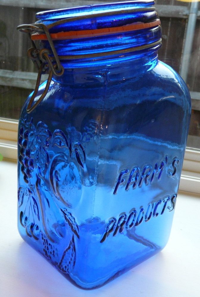 Vintage Cobalt Blue Glass Jar Made In Italy By Casadis Milano Farm S Products With Images Blue Glass Jar Blue Glass Blue Glassware