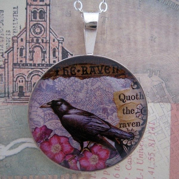 The Raven Poe collage sterling pendant. $46.00, via Etsy.